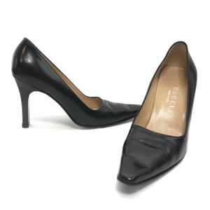 GUCCI | Black Leather High Heel Pumps Black Size 7